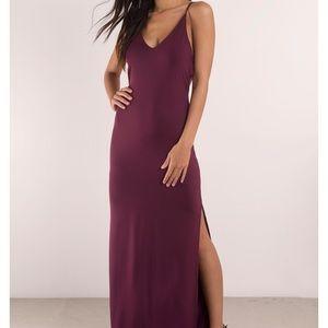 Timeless wine strappy maxi dress